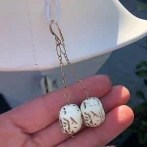 Jewelry - Antique gold and white drop earrings